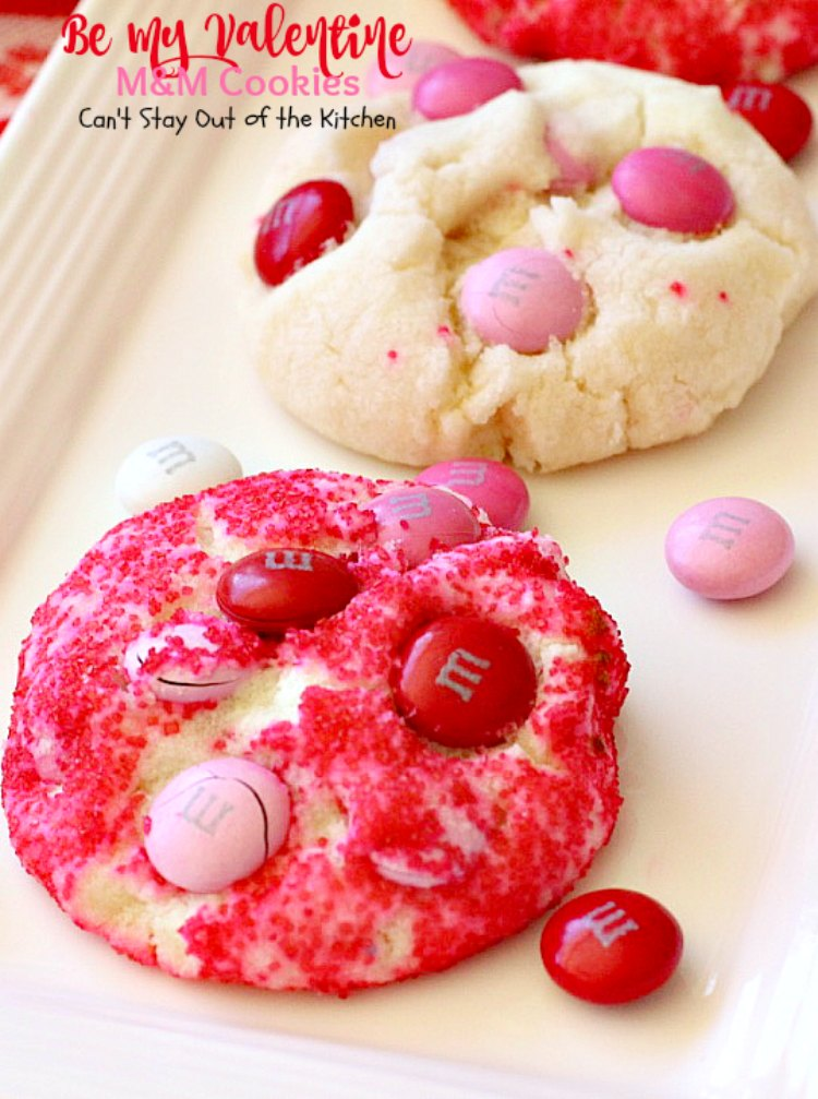 Be My Valentine M&M Cookies | Can't Stay Out of the Kitchen | these outrageous #cookies are perfect for any occasion. Just switch out the colored sugar crystals used. #ParadiseCafe #copycat recipe. #dessert #M&Ms #Valentine'sDay