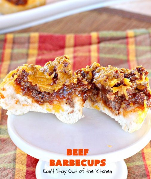 Beef Barbecups | Can't Stay Out of the Kitchen | these fantastic #appetizers use ground #beef, #SweetBabyRays #BBQ sauce & #cheddarcheese. This is a super easy 6-ingredient recipe that's terrific for #tailgating, #NewYearsEve or #SuperBowl parties.