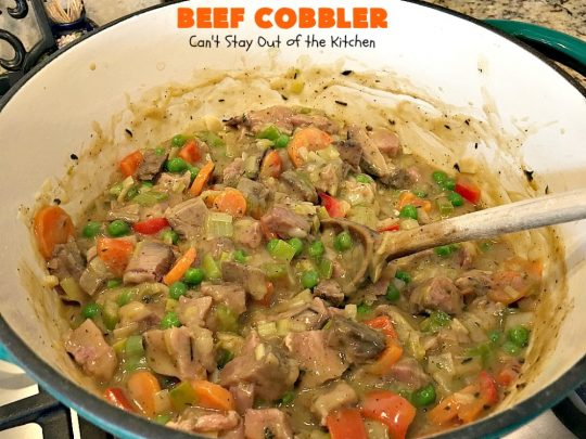 Beef Cobbler | Can't Stay Out of the Kitchen | this sumptuous #beef entree is so hearty, filling and satisfying. It's the perfect comfort food for cold, winter nights. #beefpotpie #biscuits