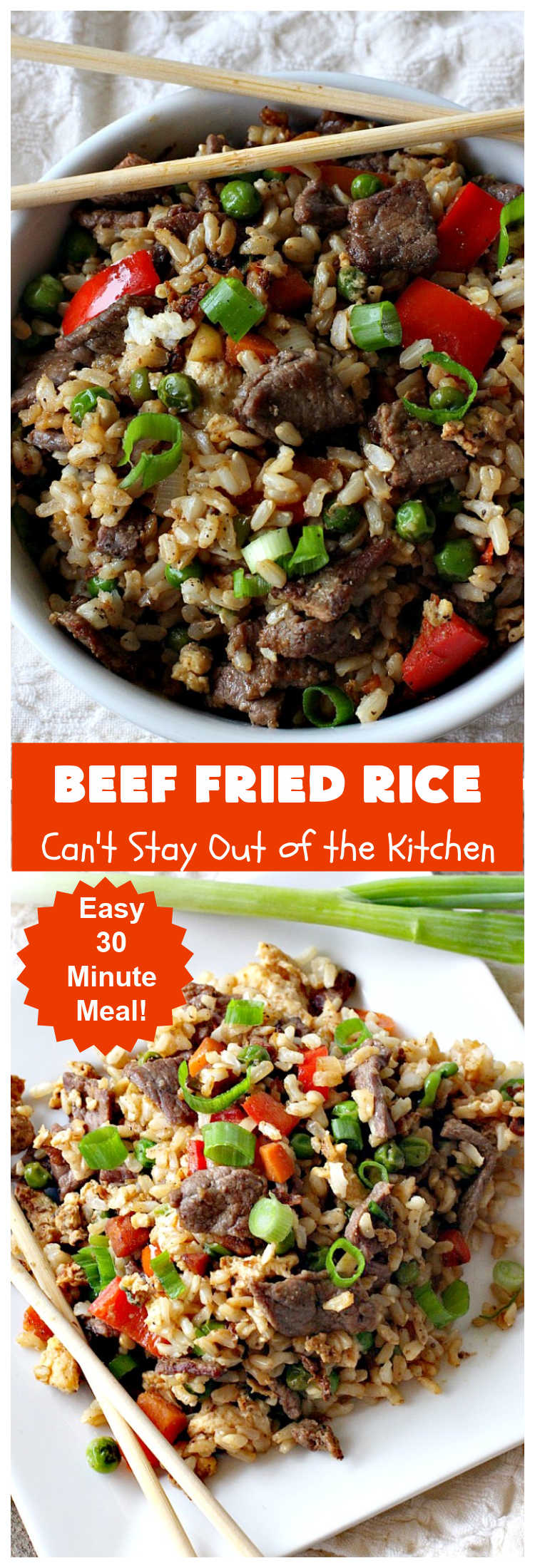Beef Fried Rice | Can't Stay Out of the Kitchen | easy 30-minute meal! fabulous #FriedRice with #beef & lots of #veggies. Perfect for #FreezerMeals. #BeefFriedRice