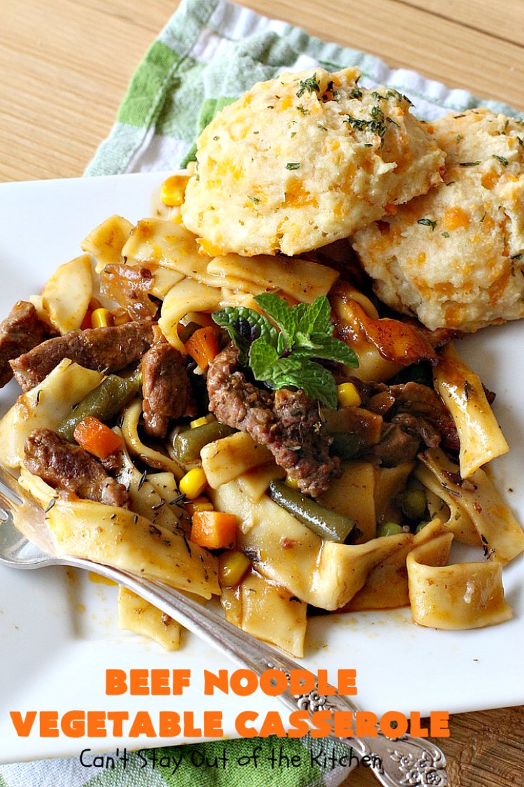 beef noodle vegetable casserole  can't stay out of the