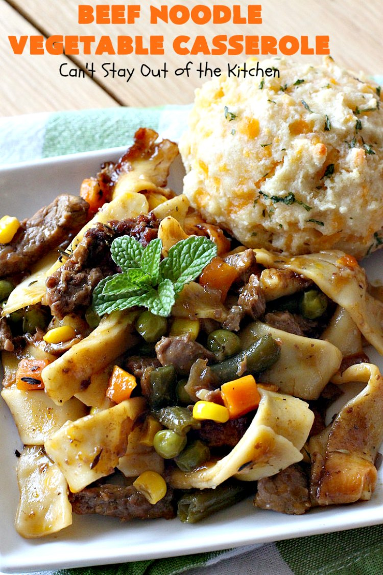 Beef Noodle Vegetable Casserole | Can't Stay Out of the Kitchen | this makes the best comfort food meal ever! The #recipe uses #StewBeef or #steak, #AmishNoodles, mixed vegetables, #Beef #Consomme #FrenchOnionSoup & #GoldenMushroomSoup. The flavors are terrific. Hearty, filling and so satisfying. #BeefNoodleCasserole #BeefNoodleVegetableCasserole #noodles #pasta