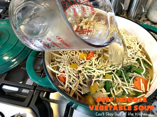 Beef Noodle Vegetable Soup | Can't Stay Out of the Kitchen | this fantastic #soup uses my favorite #Amish #noodles, #StewBeef & lots of #veggies. The seasonings make the taste awesome. It's terrific comfort food for #fall or winter meals. Our company loved this #recipe. #AmishNoodles #carrots #peas #corn #GreenBeans #beef #BeefNoodleVegetableSoup
