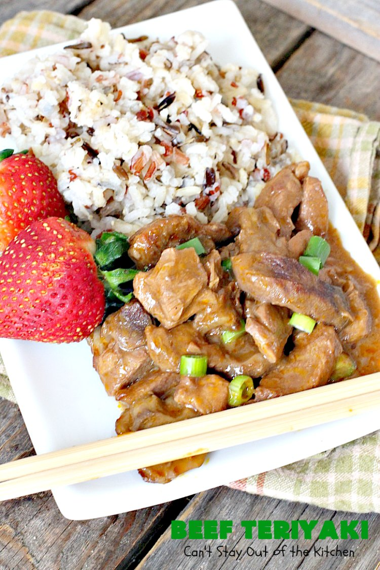 Beef Teriyaki | Can't Stay Out of the Kitchen | sumptuous main dish that's perfect for either family or company dinners. Easy 5-ingredient recipe takes only a couple minutes to prepare and slow cooks in the oven. #beef