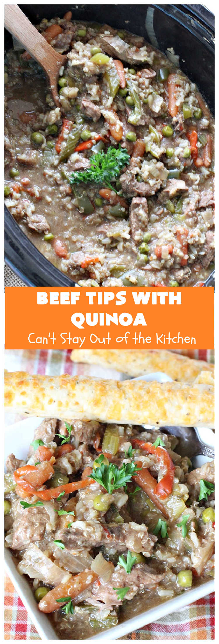 Beef Tips with Quinoa | Can't Stay Out of the Kitchen | sumptuous #beef entree that's made in the #crockpot! Made with #quinoa, #RoundSteak and lots of veggies. We loved this recipe. #healthy #GlutenFree #BeefTips #BeefTipsWithQuinoa #SlowCooker