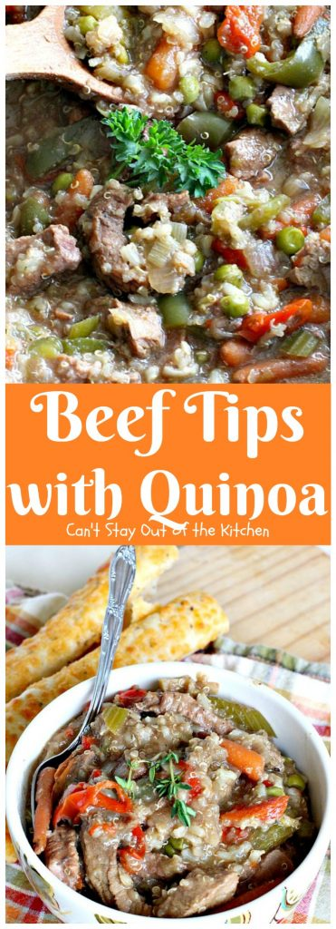 Beef Tips with Quinoa | Can't Stay Out of the Kitchen | sumptuous #beef entree that's made in the #crockpot! We loved this recipe. #glutenfree