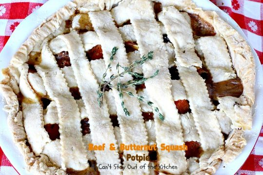 Beef and Butternut Squash Potpie | Can't Stay Out of the Kitchen | these #potpies are amazing. #Steak, apples & #butternutsquash are added to lots of veggies and seasoned with just a hint of cinnamon, nutmegs & cloves. Our company loved these #beef potpies.
