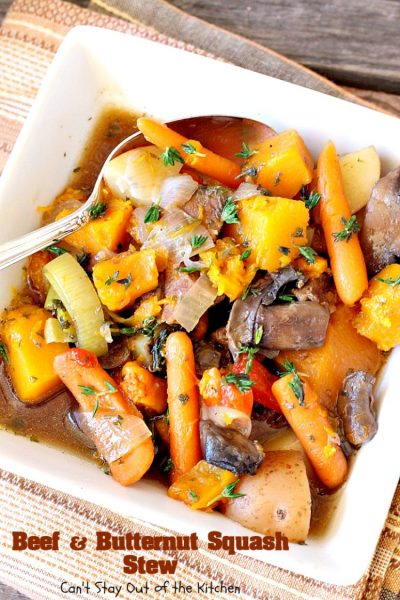 Beef and Butternut Squash Stew | Can't Stay Out of the Kitchen | amazing comfort food. #beef & #butternutsquash work so well together. We loved this #stew. Made in the #crockpot. #glutenfree #soup