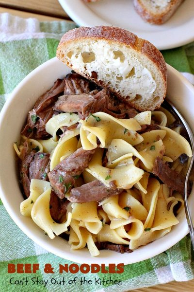 Beef and Noodles | Can't Stay Out of the Kitchen | this fantastic #GooseberryPatch #recipe is comfort food for the soul! It's savory, scrumptious & so welcome on cold, winter nights when you want something to warm you up. Easy, delicious & kid-friendly. #beef #SlowCooker #Noodles #Pasta #BeefEntree #BeefAndNoodles