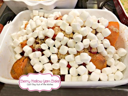 Berry Mallow Yam Bake | Can't Stay Out of the Kitchen | our favorite #holiday #sidedish. This one uses #sweetpotatoes, #cranberries #marshmallows and has a streusel topping. #glutenfree