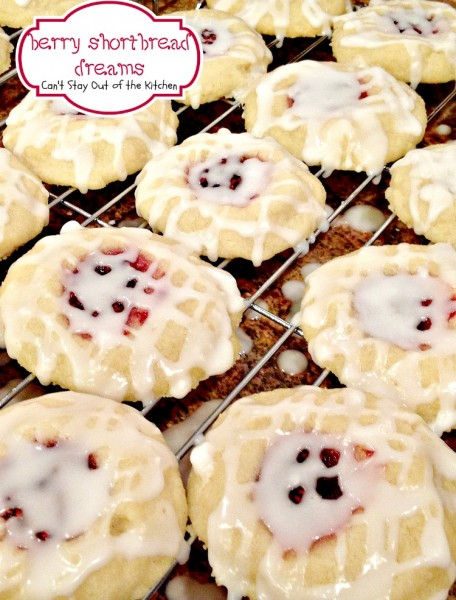 Berry Shortbread Dreams | Can't Stay Out of the Kitchen | These amazing #shortbread #cookies are filled with #raspberry jam and #almond flavoring. Then they're iced with an almond-flavored icing. They're much easier to make than they look! #dessert