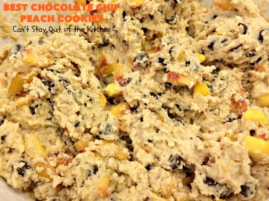 Best Chocolate Chip Peach Cookies | Can't Stay Out of the Kitchen | Who would believe that #peaches & #chocolate pair so well together? These #cookies were spectacular. Our company raved over them. #dessert #chocolatechips