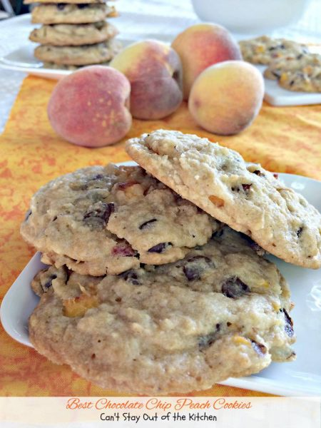 Best Chocolate Chip Peach Cookies | Can't Stay Out of the Kitchen | these #cookies are heavenly! I bet you didn't realize that #chocolate and #peaches work really well together. Well they do! Yum. #dessert