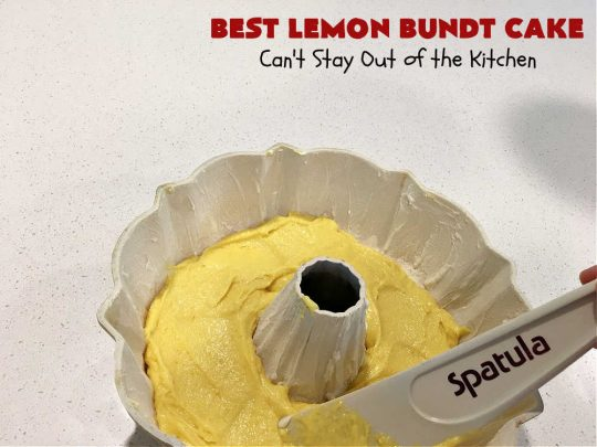 Best Lemon Bundt Cake | Can't Stay Out of the Kitchen | this fantastic #cake is better than #NothingBundtCakes! It uses a #lemon cake mix, lemon jell-O, vanilla pudding mix & #LemonPieFilling. Then it's topped with a scrumptious #CreamCheese icing that's out of this world. If you enjoy lemony #desserts this one is terrific for #holiday or company dinners. #HolidayDessert #LemonDessert #LemonCake #BestLemonBundtCake