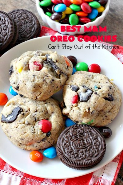 Best M&M Oreo Cookies | Can't Stay Out of the Kitchen | these #cookies will have you drooling after the first bite! #Oreos & #M&Ms taste so superb in this fantastic #chocolate #dessert. Terrific for #holiday baking. #tailgating