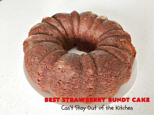 Best Strawberry Bundt Cake | Can't Stay Out of the Kitchen | This is a better version that #NothingBundtCakes that will wow your friends and knock your socks off! This delectable #cake is rich, decadent & heavenly. It's made with #Strawberry cake mix, strawberry jello & #StrawberryPieFilling. The #CreamCheese icing is luscious & irresistible! #StrawberryBundtCake #dessert #StrawberryDessert #holiday #HolidayDessert #BestStrawberryBundtCake