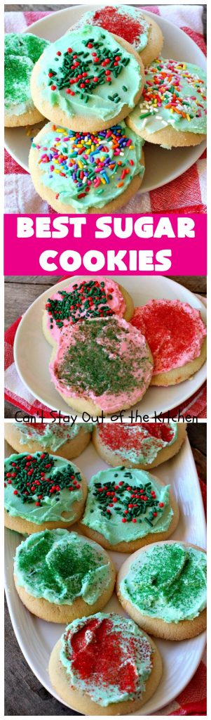 Best Sugar Cookies | Can't Stay Out of the Kitchen | these fantastic #SugarCookies are my absolute favorite #recipe! They are perfect for #holiday parties & #ChristmasCookieExchanges. The secret ingredient makes all the difference and the frosting is divine! #Dessert #cookies #HolidayDessert #ChristmasDessert #IcedSugarCookies