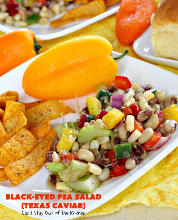 Texas Caviar a.k.a. Black-Eyed Pea Salad | Can't Stay Out of the Kitchen | perfect as a dip with #Fritos scoops or serve as a #salad. Light & refreshing & great for summer #holidays, backyard BBQs or family reunions. #glutenfree #vegan #blackeyedpeas #appetizer