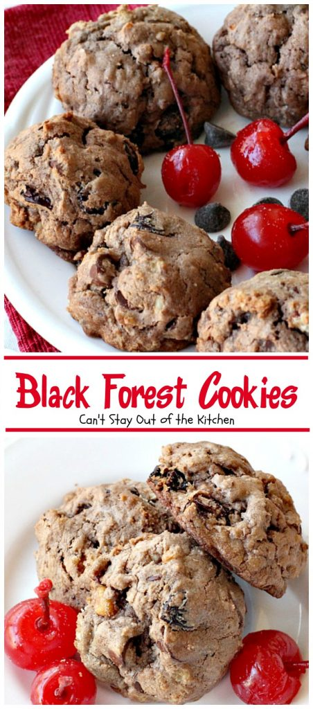 Black Forest Cookies| Can't Stay Out of the Kitchen | these fabulous #cookies are reminiscent of #blackforestcake. They are incredibly delicious & a great #dessert for #holiday baking or #Valentine'sDay.