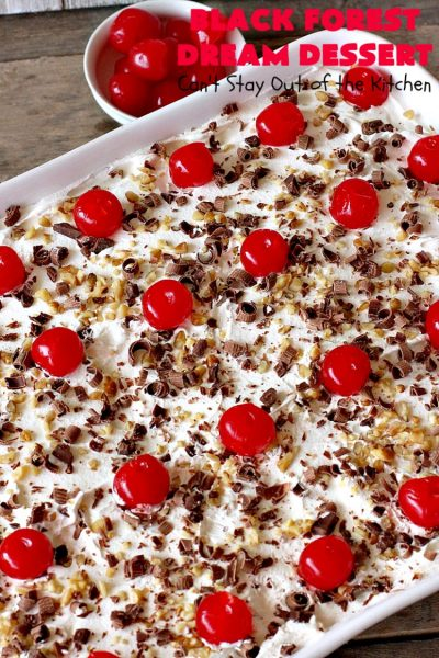 Black Forest Dream Dessert | Can't Stay Out of the Kitchen | this spectacular #dessert has a crust layer with #pecans & #coconut. It also has #cheesecake layer, a #cherrypiefilling layer, a vanilla pudding layer with melted #chocolatechips added, & a top layer with #CoolWhip, #maraschinocherries, #chocolate curls & chopped #pecans. Absolutely divine! #BlackForestDessert #CherryDessert #ChocolateDessert #ValentinesDay #ValentinesDayDessert #ChristmasDessert #CheesecakeDessert