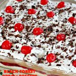 Black Forest Dream Dessert | Can't Stay Out of the Kitchen | this #dessert really is dreamy! It has a toasted nut crust, a #cheesecake layer, a #cherrypiefilling layer, a #chocolate pudding layer topped with whipped topping, shaved chocolate & maraschino #cherries. It is absolutely divine! Fabulous dessert for the #holidays.
