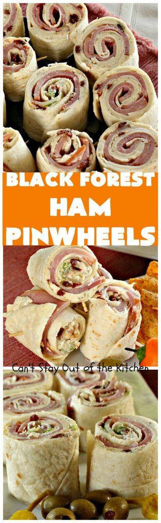 Black Forest Ham Pinwheels | Can't Stay Out of the Kitchen | These #pinwheels are spectacular & perfect for #tailgating & #SuperBowl parties. They're filled with #ham & #Swisscheese & just delightful to the taste buds! #appetizer