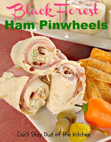 Black Forest Ham Pinwheels | Can't Stay Out of the Kitchen