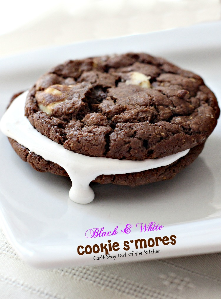 Black and White Cookie S'Mores   Can't Stay Out of the Kitchen   Spectacular #PaulaDeen #chocolate #cookie with white chocolate chips and filled with #marshmallowcreme. #dessert