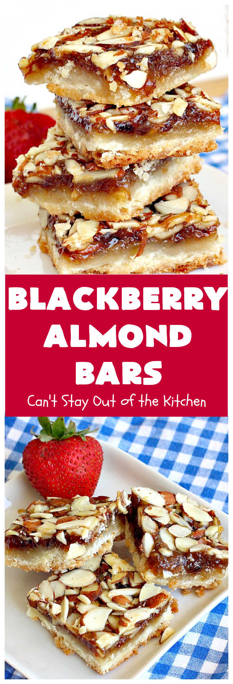 Blackberry Almond Bars | Can't Stay Out of the Kitchen | Your family will rave over these ooey, gooey delicious #dessert bars. The shortbread crust is topped with #blackberry filling and sliced #almonds.  They're absolutely divine! Delightful for #tailgating parties, potlucks, backyard BBQs & #holiday baking. # #BlackberryDessert #BlackberryAlmondBars