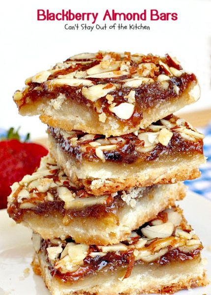 Blackberry Almond Bars | Can't Stay Out of the Kitchen | Your family will rave over these ooey, gooey delicious #dessert bars. The shortbread crust is topped with #blackberry filling and sliced #almonds. Delightful for #holiday baking. #cookie