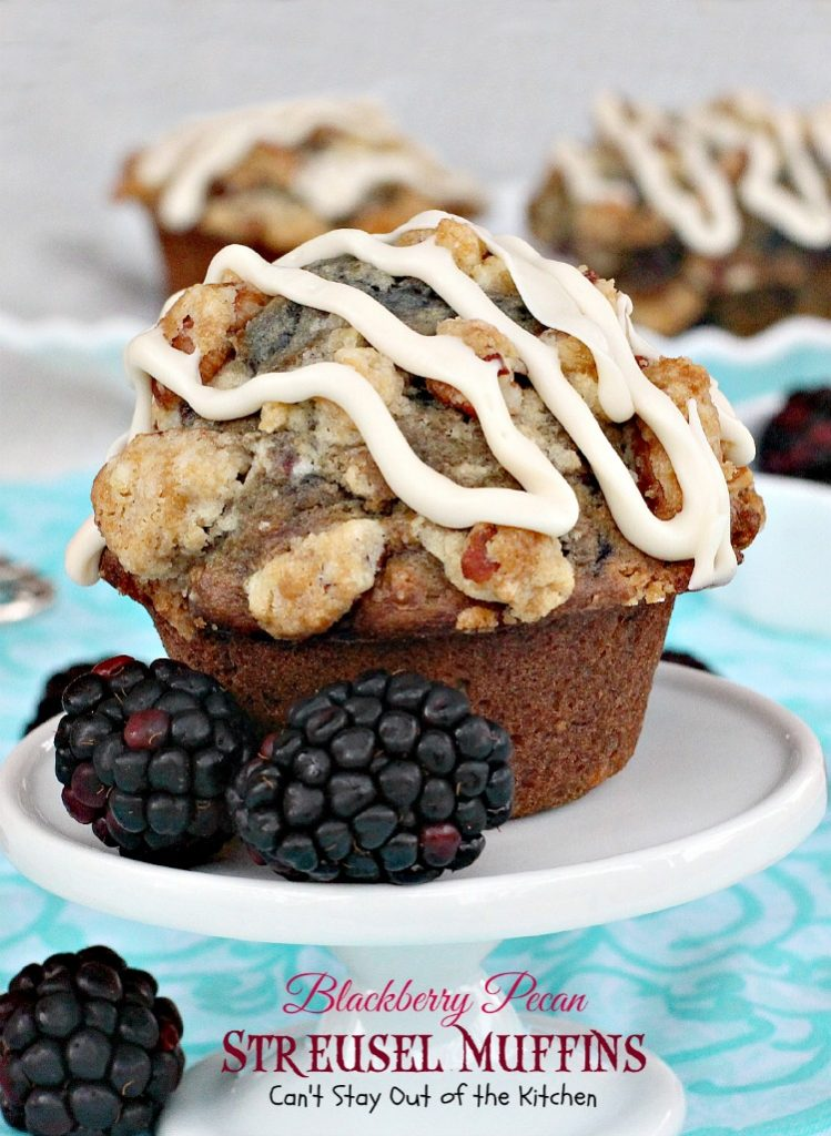 Blackberry Pecan Streusel Muffins | Can't Stay Out of the Kitchen | these are some of the BEST #muffins you will ever eat! Great for a #holiday #breakfast. #blackberries #pecans #Greekyogurt