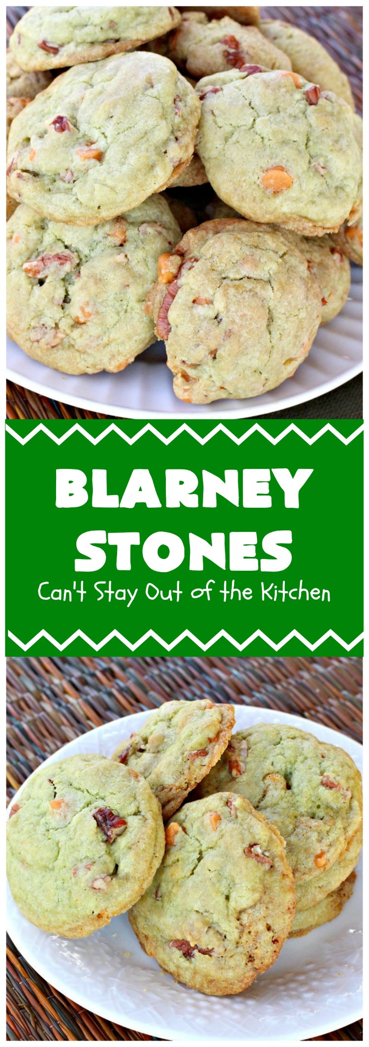 Blarney Stones | Can't Stay Out of the Kitchen | Enjoy the luck of the #Irish with these fantastic #cookies. They're made with #pecans, #PistachioPuddingMix, #AlmondExtract & #ButterscotchMorsels & are so mouthwatering. They are terrific for #tailgating or #holiday parties. #dessert #ChristmasCookieExchange #StPatricksDay #BlarneyStones