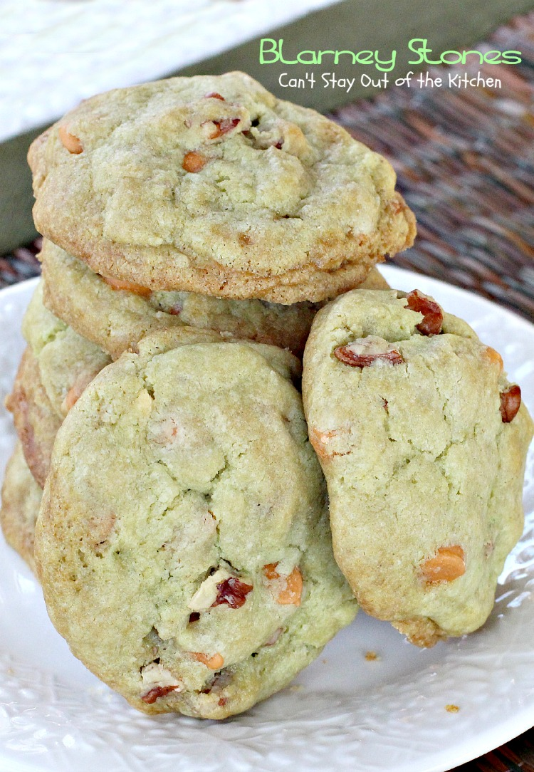 Blarney Stones   Can't Stay Out of the Kitchen   we love these #pistachio flavored #butterscotchchip #cookies. Great for #St.Patrick'sDay. #dessert