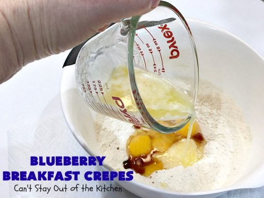 Blueberry Breakfast Crêpes   Can't Stay Out of the Kitchen   these luscious crêpes are rich, decadent & divine! They make one terrific #holiday #breakfast. Every bite will have you drooling. #HolidayBreakfast #blueberries #BlueberryBreakfastCrêpes