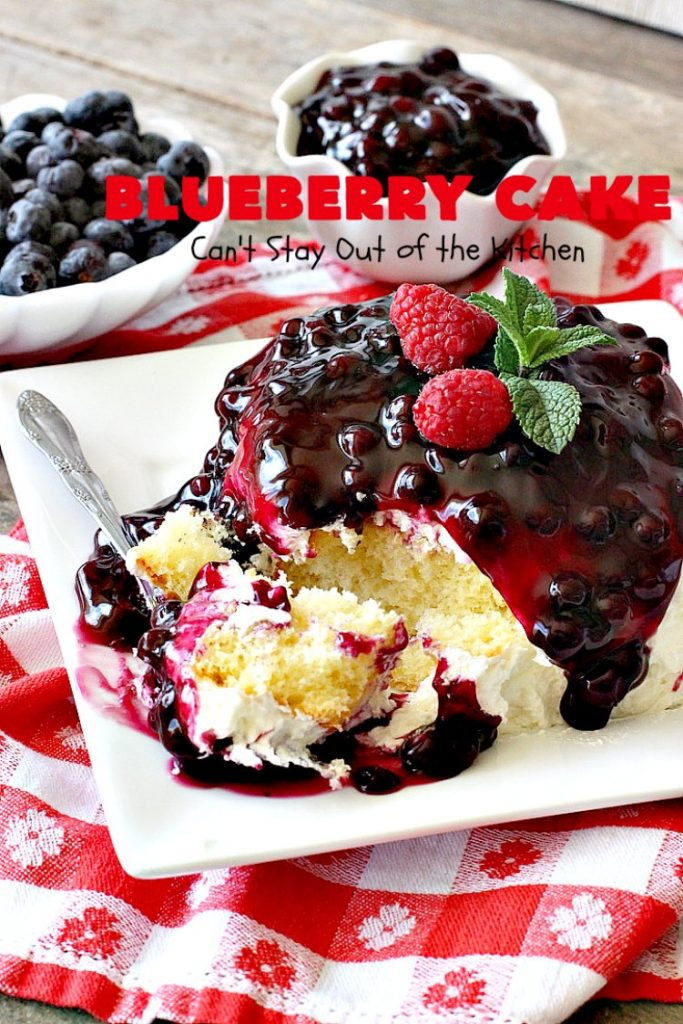 Blueberry Cake | Can't Stay Out of the Kitchen | this luscious #cake #recipe uses only 8 ingredients. It's really easy but so incredibly scrumptious. It has a cream cheese frosting & it's covered with #blueberrypiefilling. Perfect for #FourthofJuly potlucks, too. #dessert #blueberry