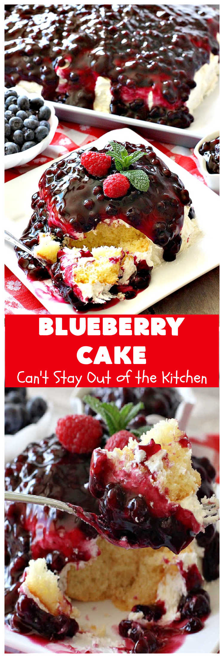 Blueberry Cake | Can't Stay Out of the Kitchen | this luscious #cake #recipe uses only 8 ingredients. It's really easy but so incredibly scrumptious. It has a #CreamCheese frosting & it's covered with #BlueberryPieFilling. Perfect for #holidays like #MothersDay, #FathersDay, #MemorialDay or #FourthofJuly too. #dessert #blueberry #BlueberryCake