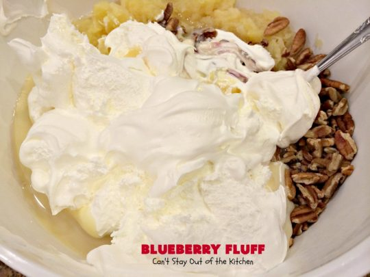 Blueberry Fluff | Can't Stay Out of the Kitchen | This amazing #salad tastes like #dessert! It's quick & easy & perfect for summer #holiday fun, family reunions & backyard #BBQs. #blueberrypiefilling #pineapple