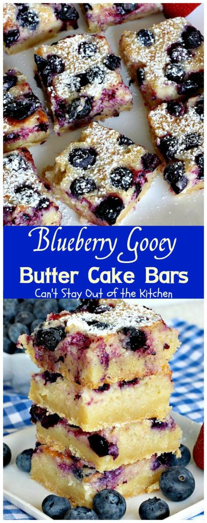Blueberry Gooey Butter Cake Bars | Can't Stay Out of the Kitchen
