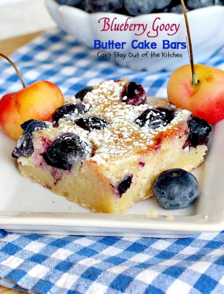 Blueberry Gooey Butter Cake Bars | Can't Stay Out of the Kitchen | you will drool over every bite of these fantastic #brownies. They are ooey, gooey and delicious with a great twist by using #blueberries. #dessert #cookies