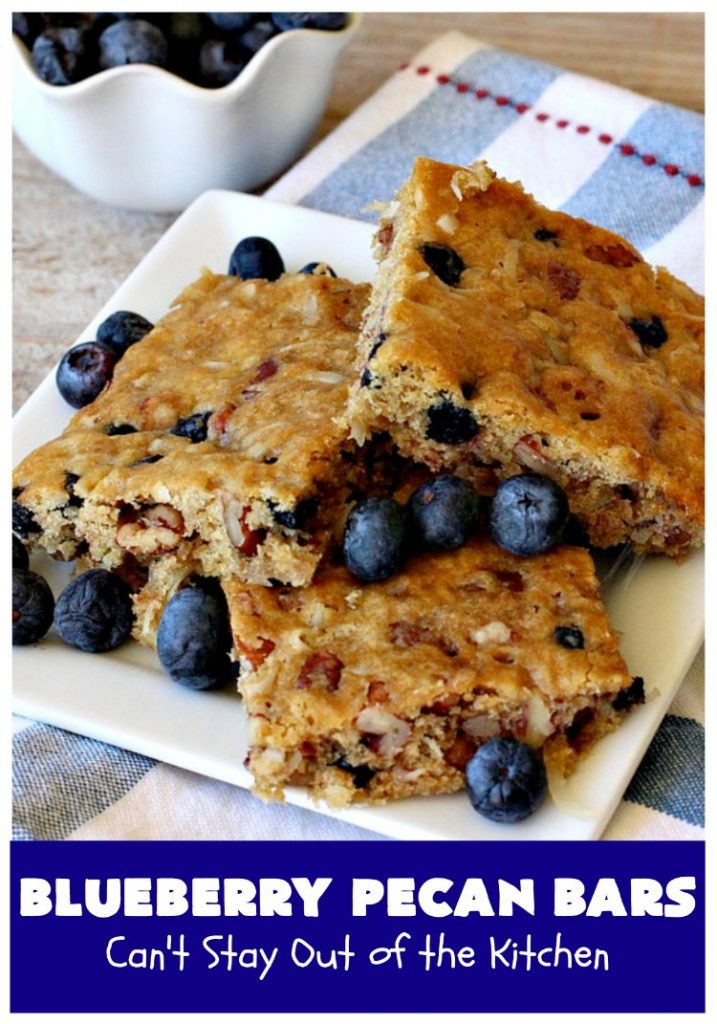 Blueberry Pecan Bars | Can't Stay Out of the Kitchen | these luscious, crunchy bar-type #cookies are filled with dried #blueberries, #pecans & #coconut. They're outrageously addictive! #tailgating #dessert #brownies #BlueberryDessert #BlueberryPecanBars