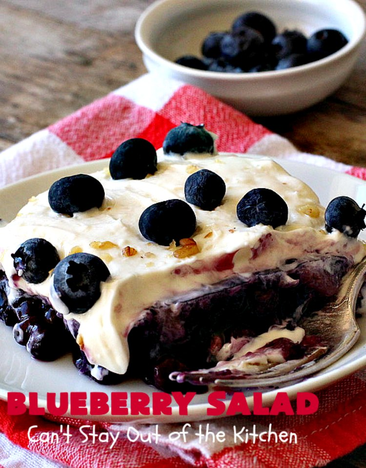 Blueberry Salad | Can't Stay Out of the Kitchen | this scrumptious congealed #salad is made with #grape #JellO, #pineapple, #blueberrypiefilling & has a lovely #creamcheese topping. It's delightful for potlucks, company or #holidays like #Thanksgiving or #Christmas. #JelloSalad #congealedsalad #blueberries #glutenfree