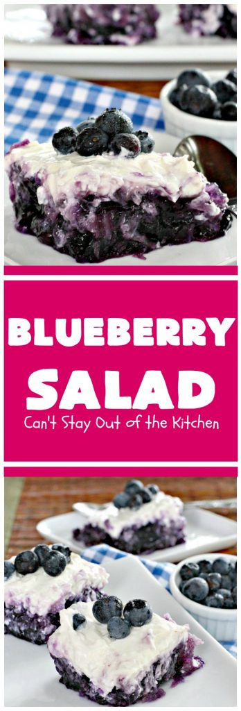 Blueberry Salad | Can't Stay Out of the Kitchen | this is one of our favorite summer side dishes. It uses #blueberry pie filling, #pineapple & has a #creamcheese topping. It's perfect for any #holiday menu. #salad #glutenfree