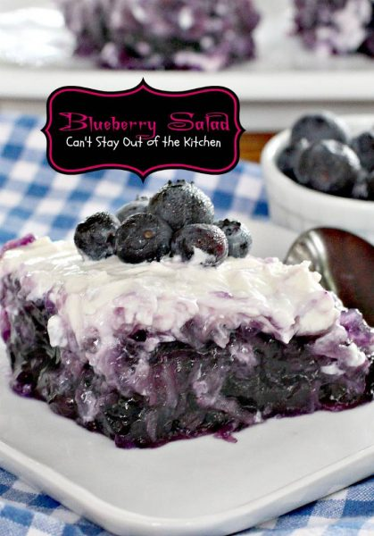 Blueberry Salad | Can't Stay Out of the Kitchen | fabulous #Jell-O #salad that's sweet enough to serve as a #dessert. Great as a #holiday #sidedish. #glutenfree #blueberries #pineapple