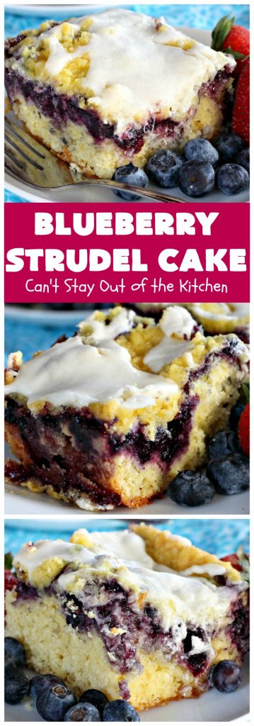 Blueberry Strudel Cake | Can't Stay Out of the Kitchen | this spectacular #cake is divine! The crust layer is made with a boxed #cakemix. It's topped with #Blueberrypiefilling, a streusel layer & glazed with an #almond flavored icing. Terrific #dessert for #Easter or #MothersDay. #BlueberryStrudelCake #BlueberryCake #BlueberryDessert #Coffeecake #breakfast #HolidayBreakfast #BlueberryCoffeecake