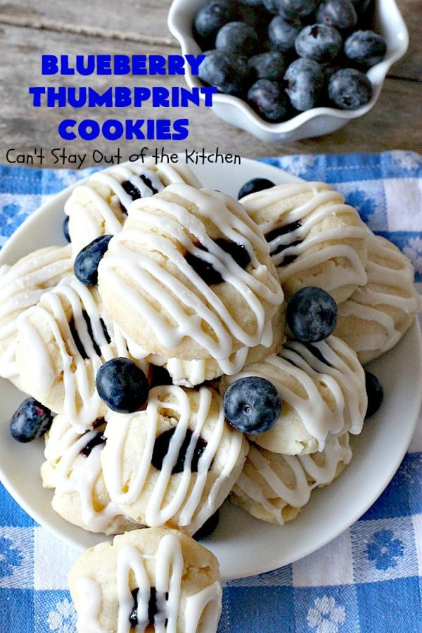 Blueberry Thumbprint Cookies | Can't Stay Out of the Kitchen | these festive & beautiful #Christmas #cookies will have you salivating after the first bite. Perfect for #holiday parties like Christmas & #NewYearsDay. #dessert #blueberries #cookies #HolidayDessert #BlueberryDessert #ChristmasCookieExchange #ChristmasCookie