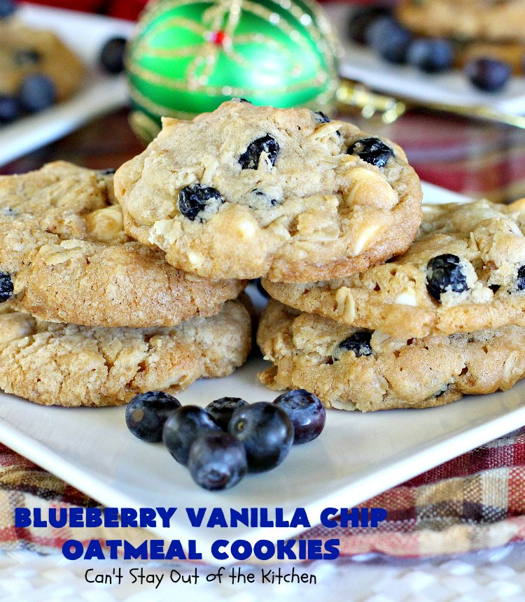 Blueberry Vanilla Chip Oatmeal Cookies | Can't Stay Out of the Kitchen | my family raved over these amazing #cookies. They're made with dried #blueberries, #oatmeal & #VanillaChips. It's one of the best #OatmealCookies you'll ever eat! Terrific for #holiday parties or a #ChristmasCookieExchange. #dessert #BlueberryVanillaChipOatmealCookies #BlueberryDessert