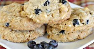 Blueberry Vanilla Chip Oatmeal Cookies   Can't Stay Out of the Kitchen   these wonderful #oatmeal #cookies use dried #blueberries and #vanillachips. They're great for #holiday #baking. #dessert