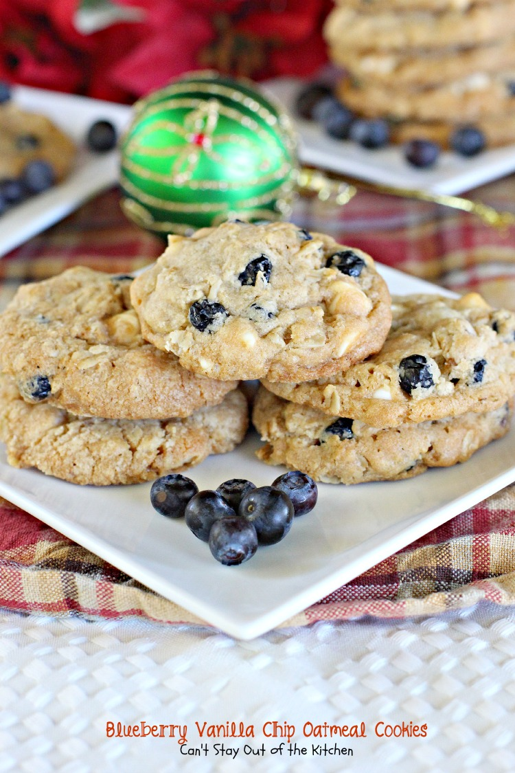 Blueberry Vanilla Chip Oatmeal Cookies | Can't Stay Out of the Kitchen | these wonderful #oatmeal #cookies use dried #blueberries and #vanillachips. They're great for #holiday #baking. #dessert