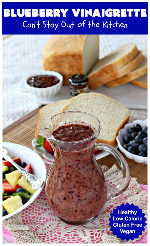 Blueberry Vinaigrette | Can't Stay Out of the Kitchen | this delightful tasting #BlueberryVinaigrette is perfect over a #TossedSalad with #fruit. It's #healthy, #LowCalorie, #Vegan & #GlutenFree. #SaladDressing