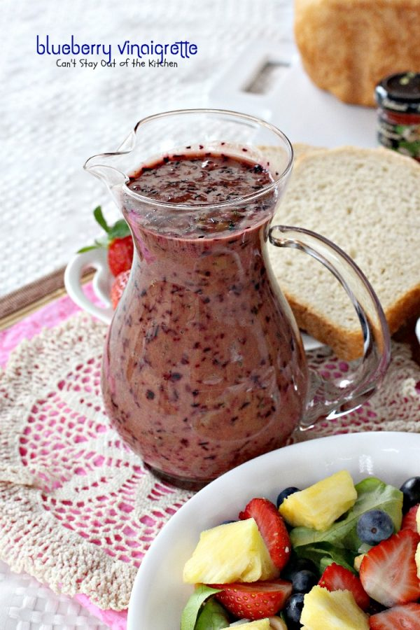 Blueberry Vinaigrette | Can't Stay Out of the Kitchen | this thick, creamy and healthy #saladdressing uses fresh #blueberries and #blueberry vinegar. It's wonderful over tossed #salad with fruit. #glutenfree #vegan